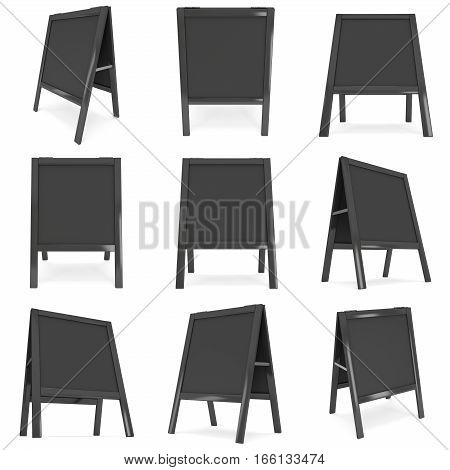 Sandwich board Set. Black menu outdoor display with clipping path. Trade show booth. 3d render isolated on white background. High Resolution Template for your design.