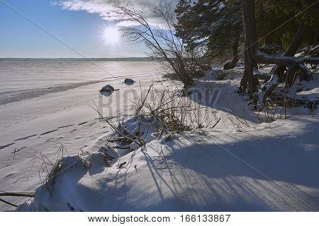 Winter beach of Vselug lake shot against sun. Penovskiy district Tver oblast Russia.