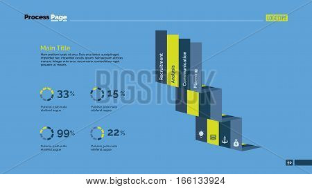 Four elements comparison percentage chart and stairs. Business data. Graph, diagram, design. Concept for infographic, presentation, report. Can be used for topics like analysis, statistics, finance.