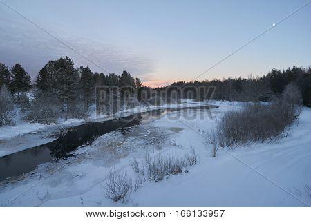 Sunset time at Zapadnaya Dvina (Daugava) river near Okhvat lake Penovskiy district Tver oblast Russia