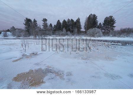 Cold winter view of Zapadnaya Dvina (Daugava) river near Okhvat lake Penovskiy district Tver oblast Russia