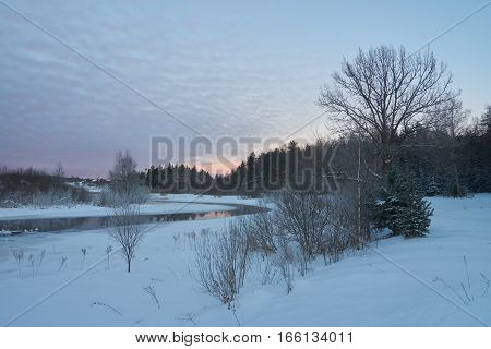 Beautiful winter view of Zapadnaya Dvina (Daugava) river near Okhvat lake Penovskiy district Tver oblast Russia