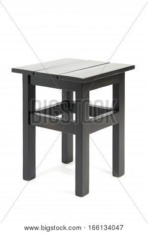 Black wooden stool isolated on white background