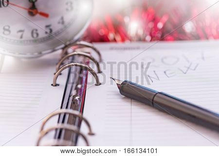 Pen On New Year's Diary