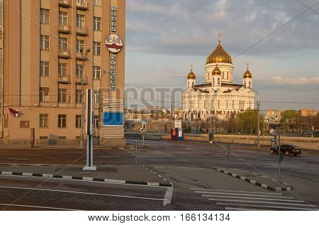 Moscow Russia - May 01 2007: Building of Estrady Theater on the left and Cathedral of Christ the Saviour on the right in the morning