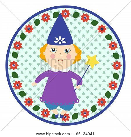 Tooth fairy round sticker. Little girl in a witches costume. Cartoon children character.