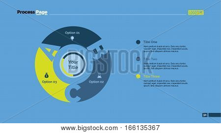 Three letters sectors process chart slide template. Business data. Circle, diagram, design. Creative concept for infographic, presentation. For topics like quality management, strategy, planning.
