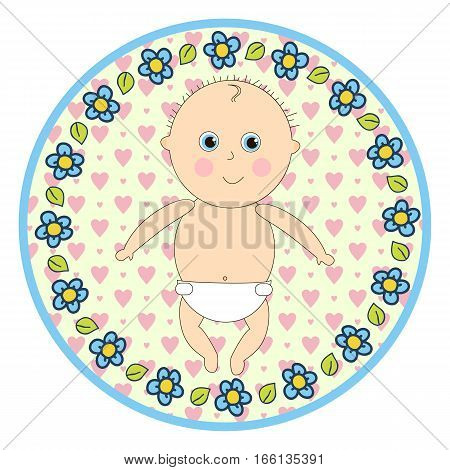 Infant in diapers round sticker in a cartoon style.