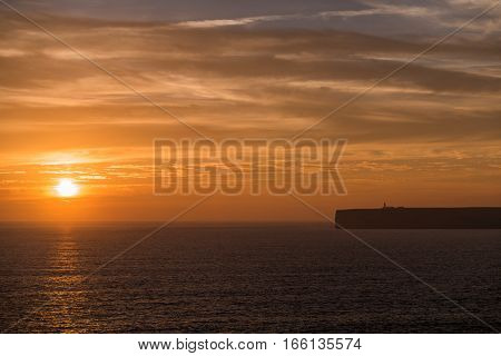 Portugal - Sunset Over Ocean And Cliffs