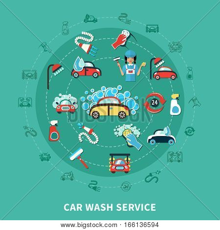Round composition with cartoon decorative icons of washing car in soap flakes cleaning agents and equipment vector illustration