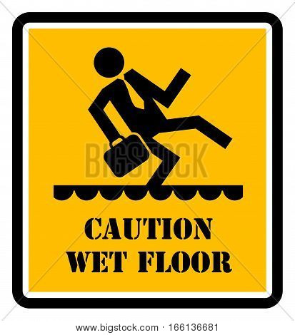 Wet floor danger sign or symbol, vector illustration