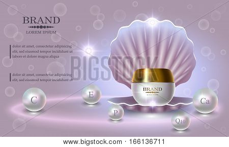 Cosmetics beauty series premium Pearl Cream packaging for skin care. Template for design poster placard presentation banners covers vector illustration.