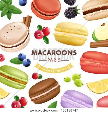 Macaroon composition with isolated almond cookies mint fruits and berries images of different colour with text vector illustration