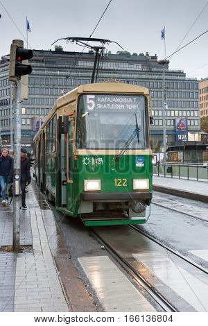 Helsinki, Finland - October 25:the Movement Of The Tram On Streets Of Helsinki,finland-october 25 20