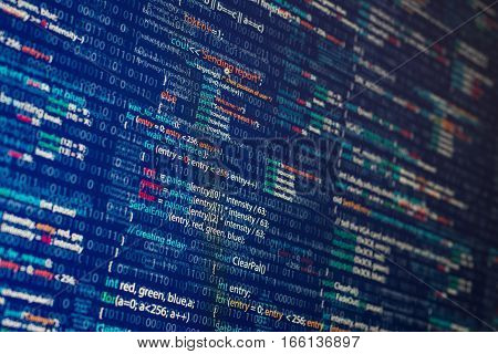 Abstract computer program code inside illustration. Blue background