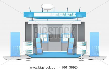 Exhibition advertising stand design with realistic tridimensional stall tv set and exhibit rack with promotional materials vector illustration