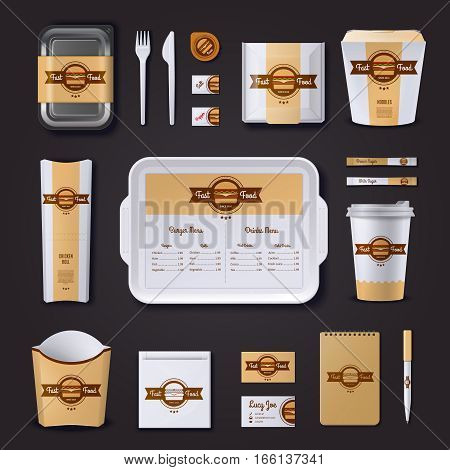 Fastfood restaurant corporate design with plastic and paper packaging and stationery on black background isolated vector illustration