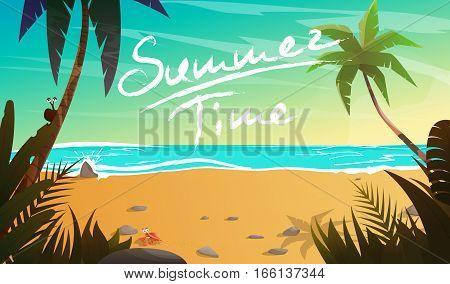 Summertime cartoon vector illustration. Summer vacation on coast