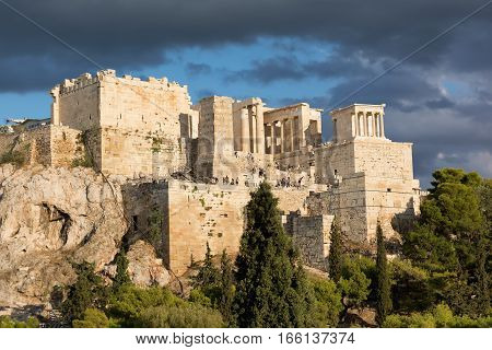 The Parthenon on the Athenian Acropolis, Greece, dedicated to the goddess Athena.