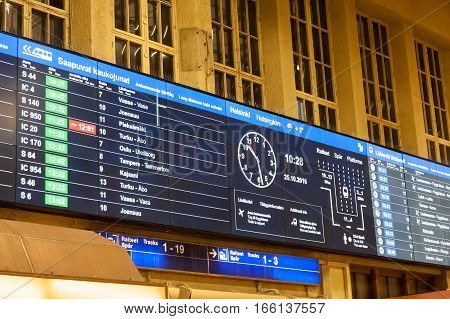 Helsinki, Finland - October 25:arrival Board At Railway Station Of The City Of Helsinki,..finland- O