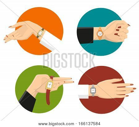 Four graceful women hands in colored circles with classic wrist watches on strap flat isolated vector illustration