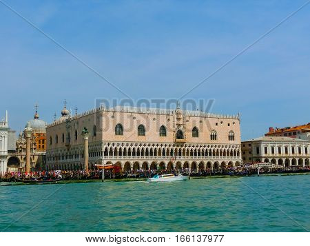 Beautiful view from Grand Canal on St Marks Square in Venice in Italy