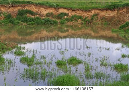 Sand Pit Filled With Water Summer Landscape