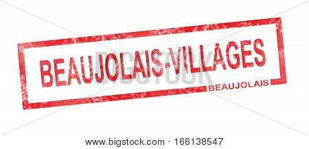 Beaujolais And Beaujolais Villages Vineyard Appellation In A Red Rectangular Stamp