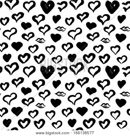 Hearts Hand Drawn Seamless Pattern. Vector Illustration of Grunge Tileable Background.
