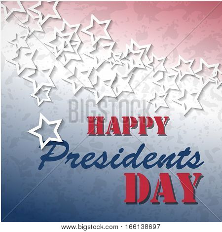 Happy Presidents Day poster. White stars with red and blue colors of american flag background. Vector illustration for banner, card, web.
