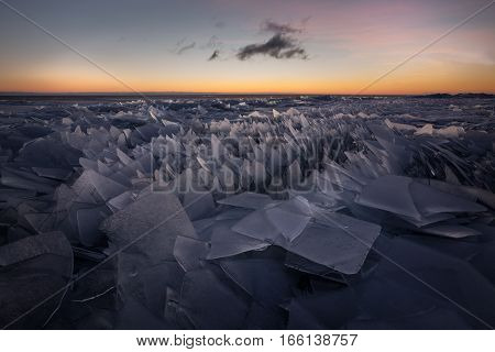 Stacked ice at lake Peipus, Estonia during twilight