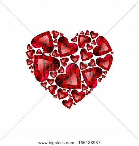 Happy Valentines day vector card. Beautiful heart composed from red heart cut rubies isolated in white background. Holiday poster with shining red jewels. Concept for banner, flayer, invitation