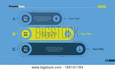 Three points process chart. Business data. List, diagram, design. Creative concept for infographic, templates, presentation, report. Can be used for topics like planning, management, teamwork.