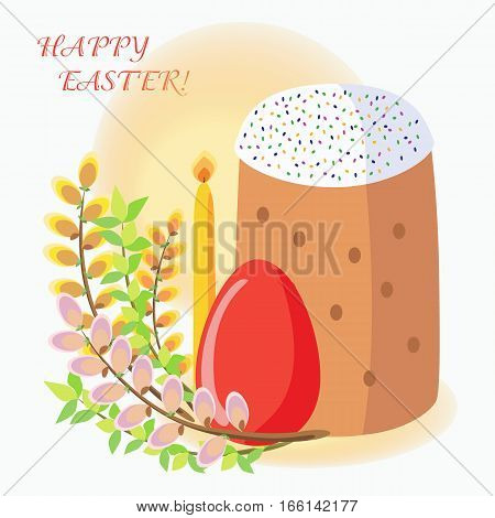 Easter greeting card with Easter cakes eggs willow candles. Traditional Orthodox Easter symbols.
