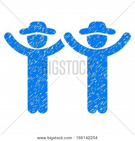 Hands Up Gentlemen grainy textured icon for overlay watermark stamps. Flat symbol with dirty texture. Dotted vector blue ink rubber seal stamp with grunge design on a white background.