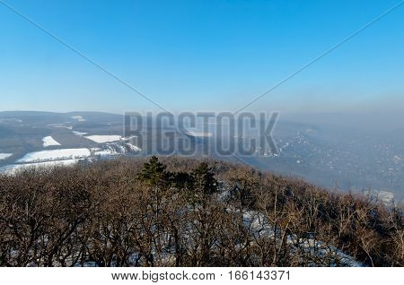 Smog settled over Budapest, Hungary on 21th January, 2017. Captured from the nearby Buda Hills.