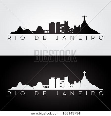Rio de Janeiro skyline and landmarks silhouette black and white design vector illustration.