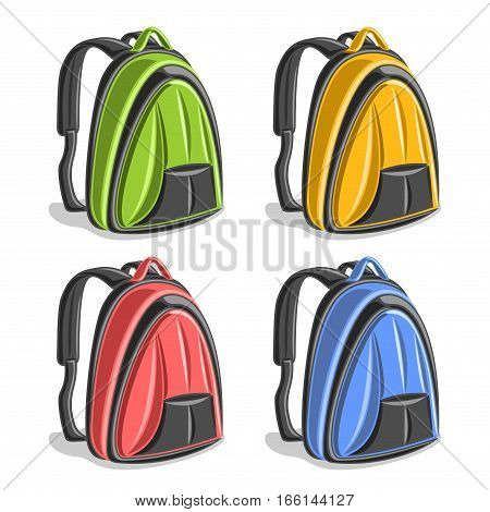 Vector set colorful hiking Backpacks, green simple laptop back bag with handle, yellow school small backbag with pocket, red youth fashion woman backpack for town, blue schoolbag with straps for kids.
