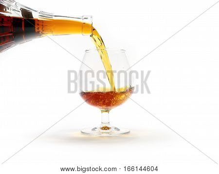 strong alcohol drink is poured from a bottle into a glass as a preparation for the holiday