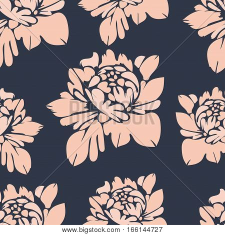 Flowers, Seamless Pattern. Vintage Floral Background. Beige Buds On A Blue . For The Fabric Design,