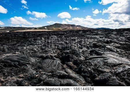 Lava field of the Krafla volcano in the north of Iceland
