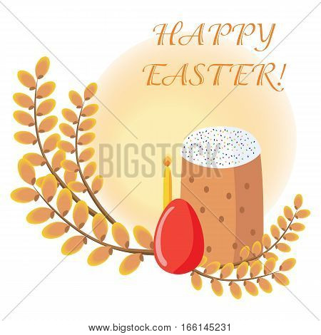 Easter background with Easter cakes eggs willow candles. Traditional Orthodox Easter symbols.