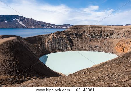 Small crater Viti in big crater of voclano Askja two different lakes big lake with cold and dark blue water and small lake with warm water and pastel blue water