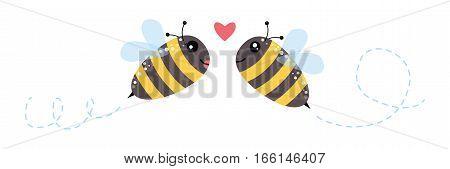 Honey Flying Bee And Heart