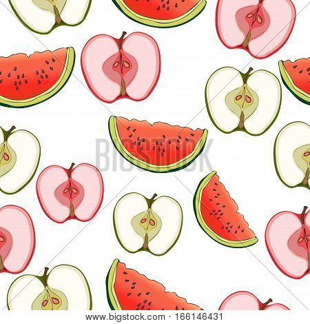 Slices Of Apples And Watermelon Seamless Pattern, Fruit Background. Drawing  On A White , Cartoon. F