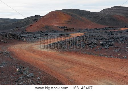 The sinposted red road in iceland wasteland