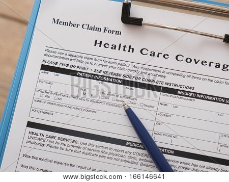 Health Care Insurance Claim Form With Pen