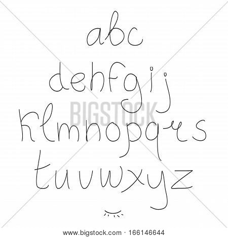 Cute hand drawn letter. Doodle type. Sans serif. Display faces. Uppercase and lowercase letters.