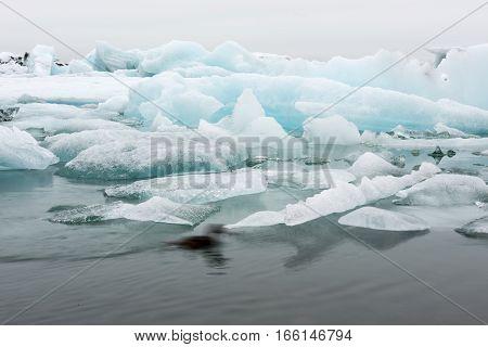 Ice in the lake Jokursarlon from Vatnajokull glacier
