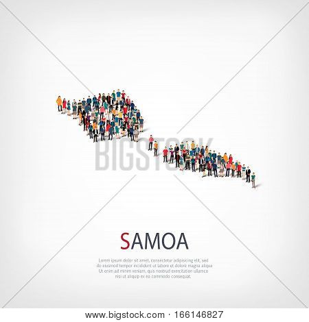 Isometric set of styles, people, map of Samoa , country, web infographics concept of crowded space, flat 3d. Crowd point group forming a predetermined shape. Creative people. Vector illustration. Photo vector.3D illustration. White background . Isolated.